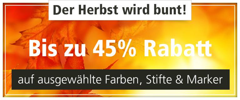 Der Herbst wird bunt - bis zu 45 % Rabatt & Gratisaktionen auf ausgewählte Farben, Stifte & Marker.