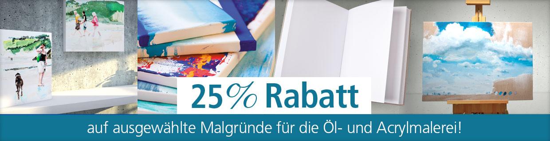 Bis zu 25% auf Malgründe für die Öl- und Acrylmalerei