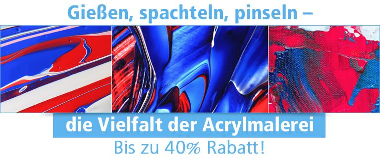 Gießen, spachteln, pinseln - die Vielfalt der Acrylmalerei              Bis zu 40% Rabatt